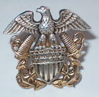 WWII sterling silver US Navy 10K gold filled hat lapel pin pinback Eagle shield