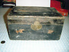 1800's wooden document Box interior compartment slide Lock iron band around top