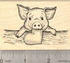 Valentines Day Piglet with Heart Rubber Stamp Baby Pig K20309 WM