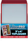 100 Ultra Pro Red Border 3x4 Toploaders + 100 Soft Sleeves Brand New