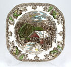 Johnson Brothers THE FRIENDLY VILLAGE Square Salad Plate 7.5 in. COVERED BRIDGE