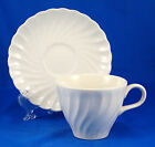 Johnson Brothers REGENCY Flat Cup and Saucer Set 2.75 in. White Ironstone Swirl