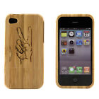 Apple iPhone 4 4S 4G Case Bamboo Engraved Peace Sign Cover Natural Hard Wood