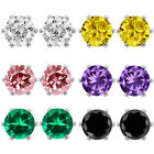 300 Ct Cubic Zirconia CZ Round Post with friction back Stud Earrings 6MM