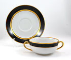 Fitz and Floyd RENAISSANCE – BLACK ON WHITE Cream Soup and Saucer Set 2.25 in.