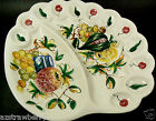 Vintage Made in Italy Divided Platter Egg Vegetable Serving Tray Plate Handpaint