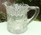 ABP Pressed Glass Cut Glass Combination Daisy Flower Vine Creamer Jug