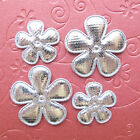 US SELLER 60 x Mix 1  15 Padded Silver Shiny Felt Flower Appliques ST609