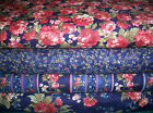 Windham Fabric ~ Whistler Studio STELLA ~ 4pc 4yds Navy Blue Roses