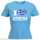 I Love Heart Athens Greece Ladies Lady Fit T Shirt 13 Colours Size 6 16