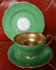 Foley England V1966 Green Rim Gold Interior Trio Cup & Saucer Set with Plate