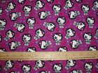 COTTON Fabric Sanrio Hello Kitty Rockstar Singer KISS Rock Band on Purple BTY