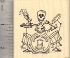 Halloween Skeleton Rubber Stamp Playing Drums with Bones J22305 WM