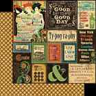 Graphic45 TYPOGRAPHY 12x12 Dbl Sided Scrapbooking 2pc Paper VINTAGE
