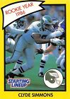 1990  CLYDE SIMMONS - Starting Lineup Card - PHILADELPHIA EAGLES - (Yellow)