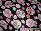 Pink  Black Butterfly Fleece Fabric by the Yard BTY