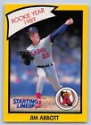 1990  JIM ABBOTT - Kenner Starting Lineup Card - California Angels  (Yellow)
