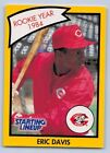 1990  ERIC DAVIS - Kenner Starting Lineup Card - Cincinnati Reds  (Yellow)
