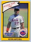 1990   KEVIN MITCHELL - Kenner Starting Lineup Card - NEW YORK METS  (Yellow)