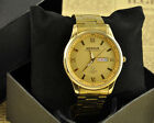Luxury 18K Gold Plated Stainless Steel Analog Quartz DATE DAY Mens Wrist Watch