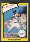 1990  DAVE STEWART - Kenner Starting Lineup Card - Los Angeles Dodgers - (Yellow