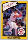 1990  MIKE GREENWELL - Kenner Starting Lineup Card - BOSTON RED SOX - (Yellow)