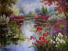 Claude Monet Colorful Water Lily Pond Repro 8, Hand Painted Oil Painting 36x48in