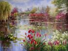 Claude Monet Colorful Water Lily Pond Repro 10 Hand Painted Oil Painting 36x48in