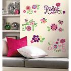 LOVE JOY PEACE wall stickers 35 decals Flowers Butterfly Leaves scrapbook