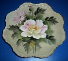 Lefton China Green Heritage Flowers Scalloped Decorative Plate Ready to Hang