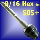 Silverline 9/16 HEX to SDS PLUS adaptor shank chuck drill steel + rotary hammer