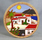 GREEK HOUSES PALM TREE SCENIC PORCELAIN ENAMEL GLAZED POTTERY WALL PLATE PLAQUE