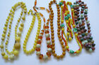 Lot of 6 VTG Fashion Beads Strands Necklaces Licite Plastic Art Glass multicolor