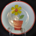 Fitz and Floyd Salad Plate Flower Power Pot Red