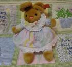 Vtg. Anna Club Plush brown Bunny Rabbit Pastel dress Leather Tag 1994 Pink nose