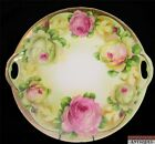 Three Crowns German Porcelain Double Handled Plate Pink Roses Marked Base 10