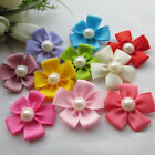 E228 Mix Satin Ribbon Flowers Bows W/Peal Sewing Appliques 40x40mm 22/110pcs