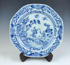 c1700s CHINESE EXPORT PORCELAIN BLUE & WHITE OCTAGONAL PLATE