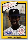 1990  WILLIE RANDOLPH - Kenner Starting Lineup Card - New York Yankees - Yellow