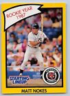 1990  MATT NOKES - Kenner Starting Lineup Card - Detroit Tigers - (Yellow)