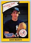 1990  DAVE RIGHETTI - Kenner Starting Lineup Card - NEW YORK YANKEES - (Yellow)