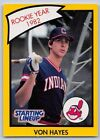 1990  VON HAYES - Kenner Starting Lineup Card - Cleveland Indians -Yellow