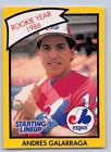 1990  ANDRES GALARRAGA - Kenner Starting Lineup Card - MONTREAL EXPOS -Yellow