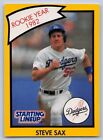 1990  STEVE SAX - Kenner Starting Lineup Card - Los Angeles Dodgers -Yellow