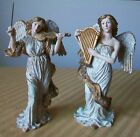 2 Ceramic Bisque Angels White Gold Playing Musical Instruments Harp Violin