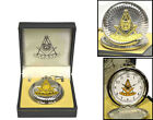 D8054 Masonic Pocket Watch Silver Finish with Gold Past Master Logo - NEW IN BOX