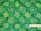 Stonehenge Starry Night Green Snowflake Christmas Northcott Fabric by the 1 2 Yd