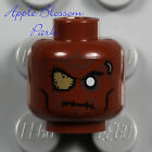 NEW Lego ZOMBIE MINIFIG HEAD Brown Halloween Monster Alien Pirate Eye Patch Scar