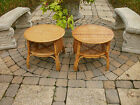 VINTAGE WOVEN RATTAN BAMBOO SIDE END TABLE STAND SET