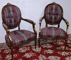 Antique Walnut Country French Louis XVI Pair Fauteuil Arm Chairs 19th Century